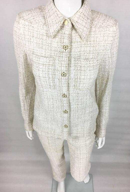 2001 Chanel Runway Off-White Bouclé Trouser Suit With Enamelled Logo Buttons 2