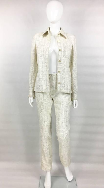 2001 Chanel Runway Off-White Bouclé Trouser Suit With Enamelled Logo Buttons 3