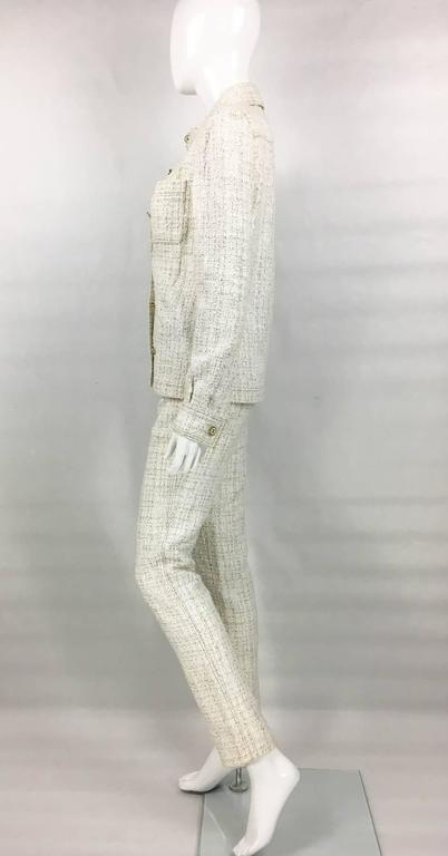 2001 Chanel Runway Off-White Bouclé Trouser Suit With Enamelled Logo Buttons 5