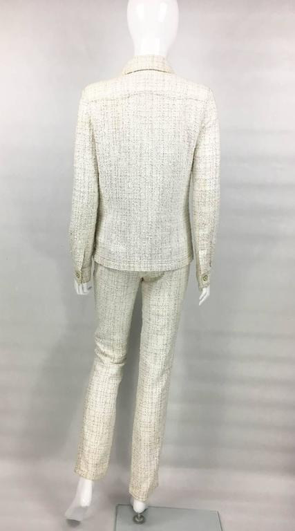 2001 Chanel Runway Off-White Bouclé Trouser Suit With Enamelled Logo Buttons 6