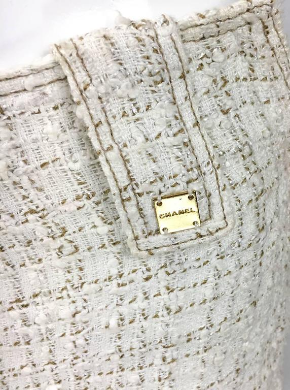 2001 Chanel Runway Off-White Bouclé Trouser Suit With Enamelled Logo Buttons 8
