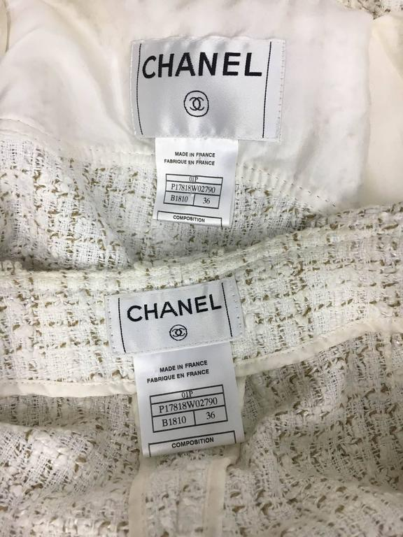 2001 Chanel Runway Off-White Bouclé Trouser Suit With Enamelled Logo Buttons 9