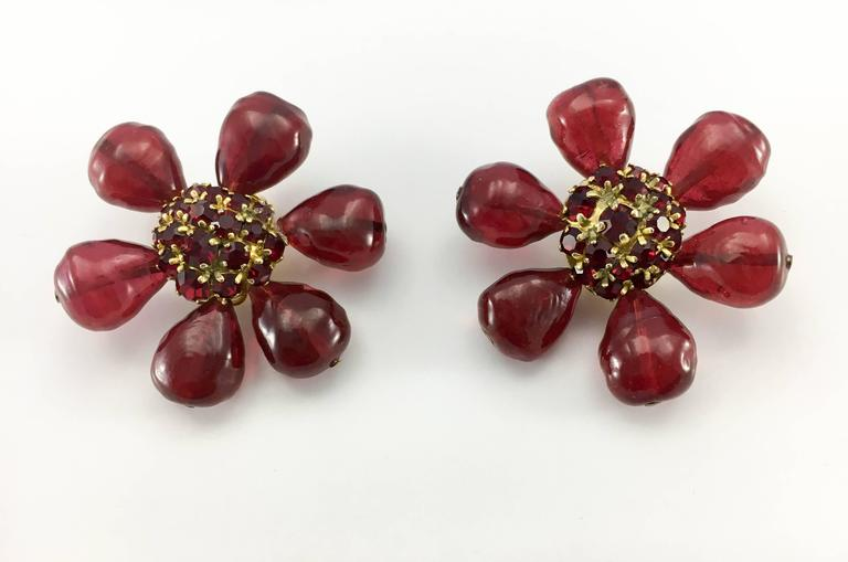 1970s Chanel Red Gripoix Large Flower Earrings In Excellent Condition For Sale In London, GB