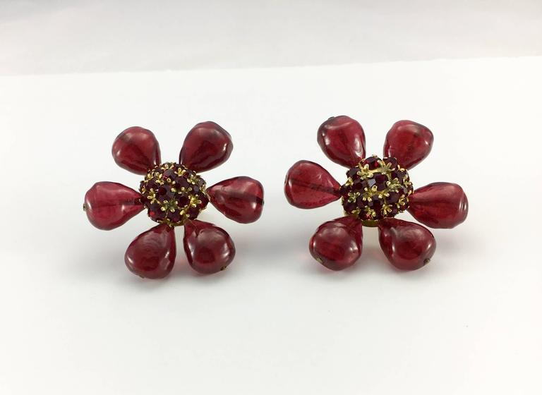 1970s Chanel Red Gripoix Large Flower Earrings 4