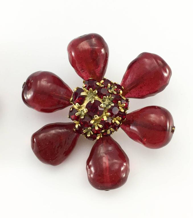 1970s Chanel Red Gripoix Large Flower Earrings 6