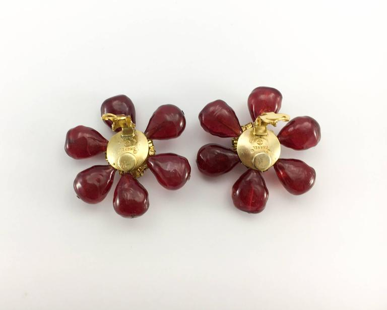 1970s Chanel Red Gripoix Large Flower Earrings For Sale 4