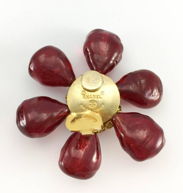 1970s Chanel Red Gripoix Large Flower Earrings For Sale 5