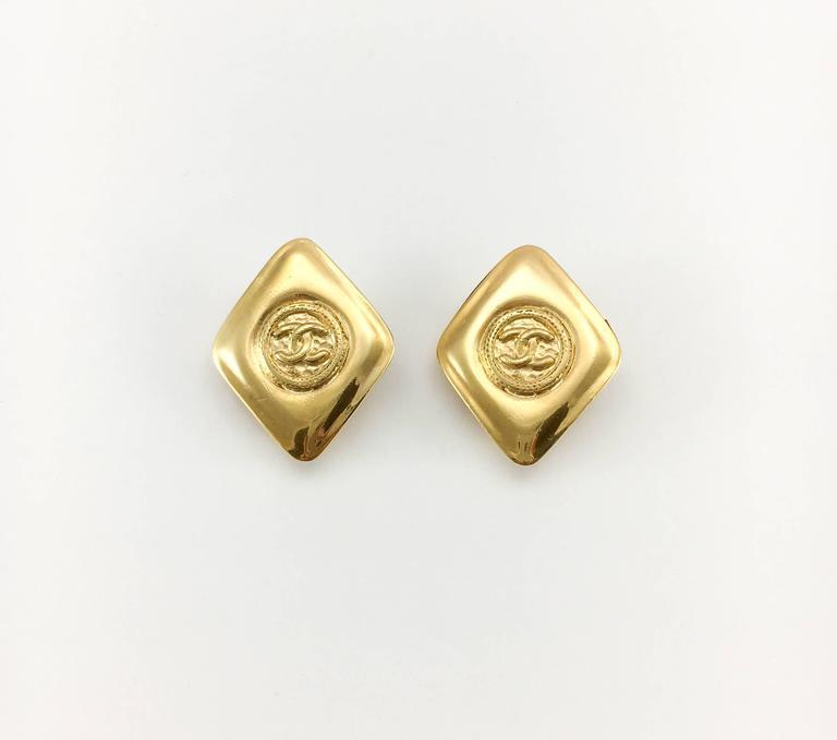 1980's Chanel Gold-Plated Lozenge-Shaped Logo Earrings 2