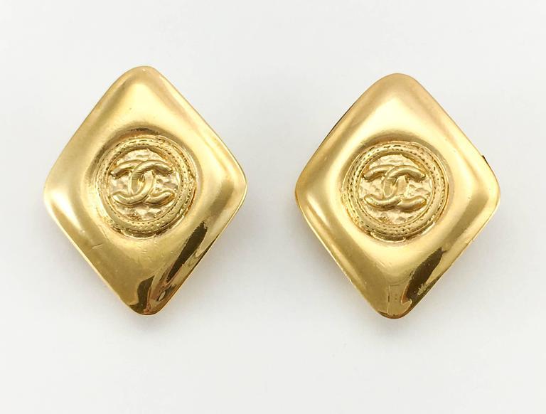 1980's Chanel Gold-Plated Lozenge-Shaped Logo Earrings 3