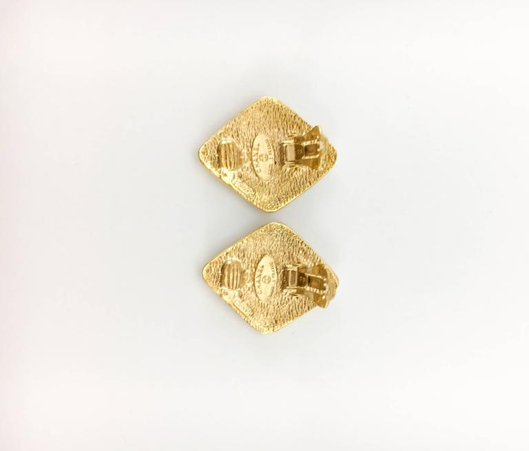 1980's Chanel Gold-Plated Lozenge-Shaped Logo Earrings 7