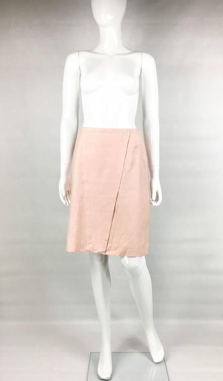 2001 Chanel Pale Pink A-Line Silk Skirt 2