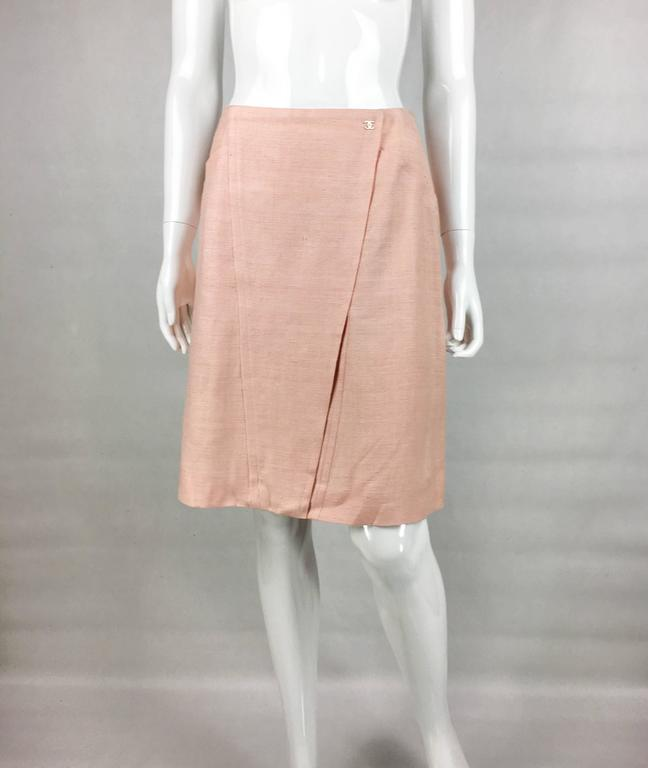 2001 Chanel Pale Pink A-Line Silk Skirt 3