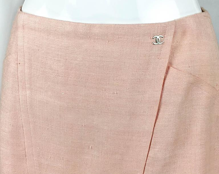 2001 Chanel Pale Pink A-Line Silk Skirt 4