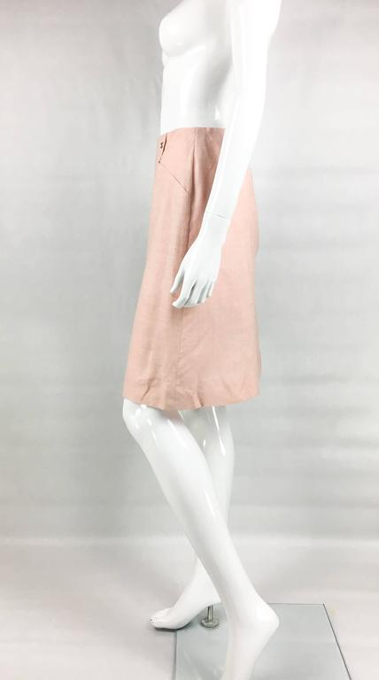 2001 Chanel Pale Pink A-Line Silk Skirt 5