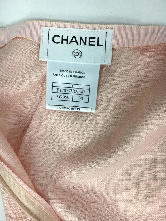 2001 Chanel Pale Pink A-Line Silk Skirt 7