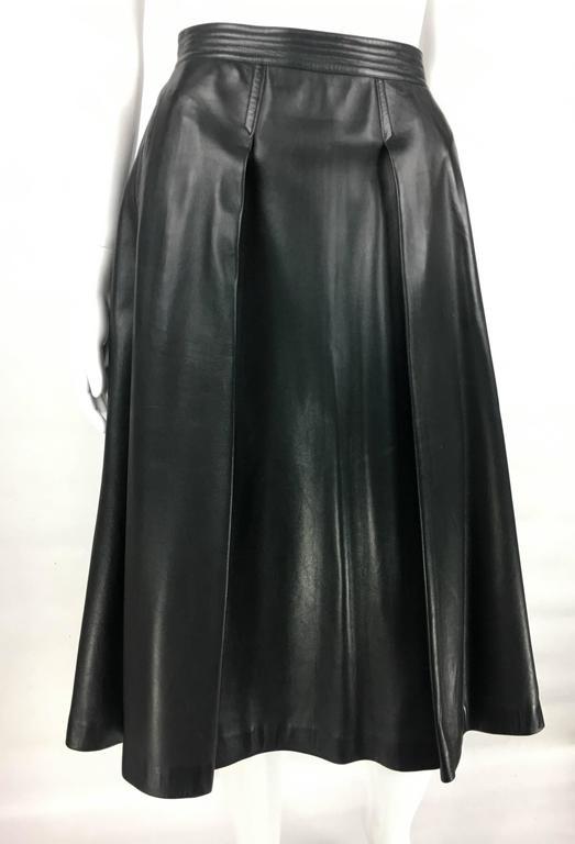 1980S Gucci Black Leather Flared Midi Skirt At 1Stdibs-7541