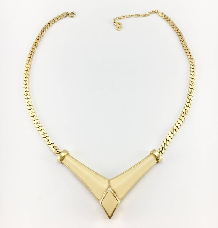 1980s Dior Enamelled Gilt Necklace 3