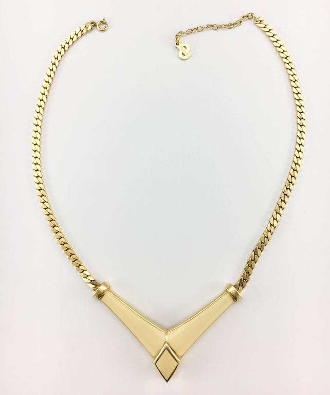 1980s Dior Enamelled Gilt Necklace 4