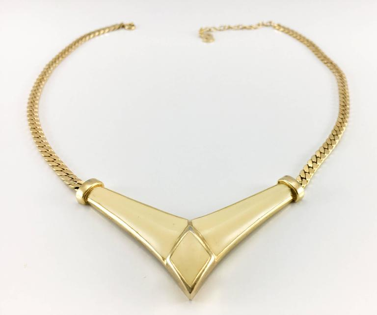 1980s Dior Enamelled Gilt Necklace For Sale 2