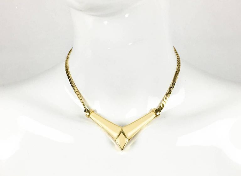 1980s Dior Enamelled Gilt Necklace 2