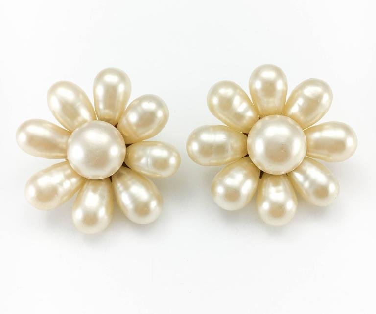 1970's Chanel Gripoix Pearl Flower Earrings 4