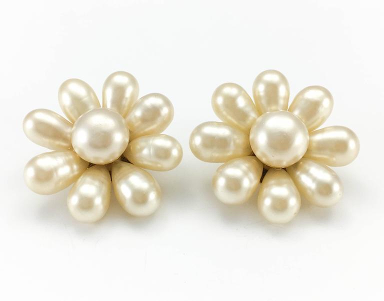 1970's Chanel Gripoix Pearl Flower Earrings 6