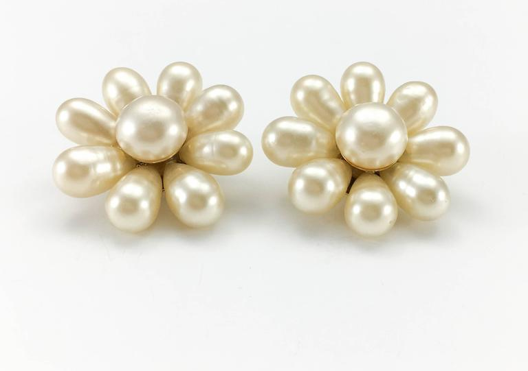 1970's Chanel Gripoix Pearl Flower Earrings 7