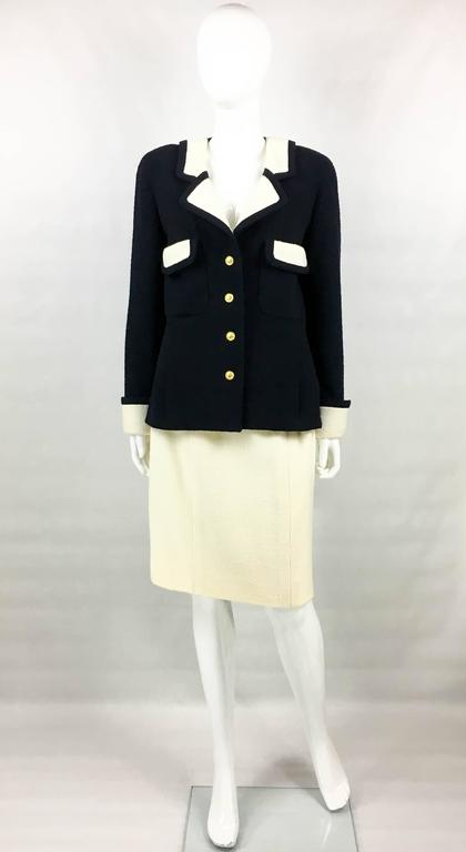 Chanel Nautical Inspired Navy and White Wool Skirt Suit, Circa 1982 2