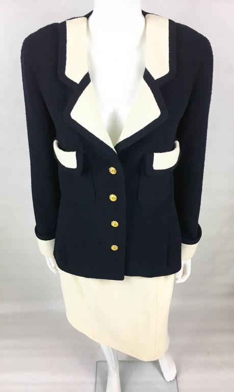 Chanel Nautical Inspired Navy and White Wool Skirt Suit, Circa 1982 3
