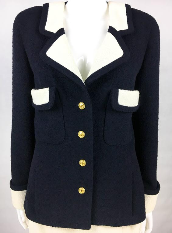 Chanel Nautical Inspired Navy and White Wool Skirt Suit, Circa 1982 4