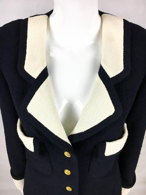 53dbc0f9c21 Chanel Nautical Inspired Navy and White Wool Skirt Suit