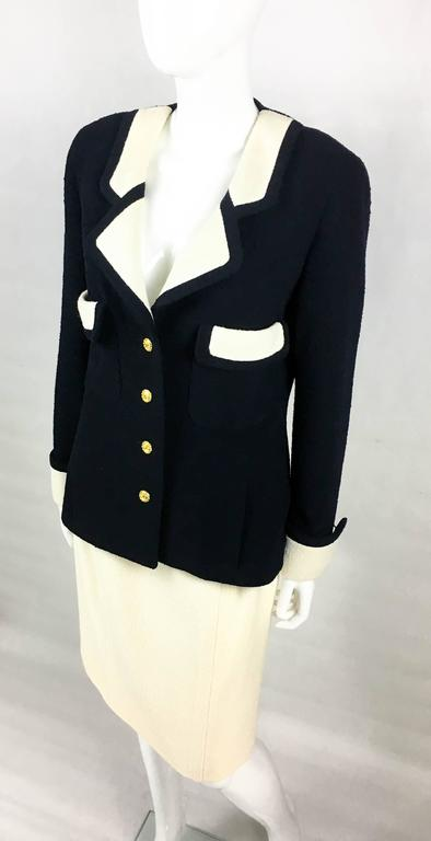Chanel Nautical Inspired Navy and White Wool Skirt Suit, Circa 1982 7