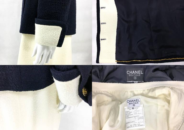 Chanel Nautical Inspired Navy and White Wool Skirt Suit, Circa 1982 10