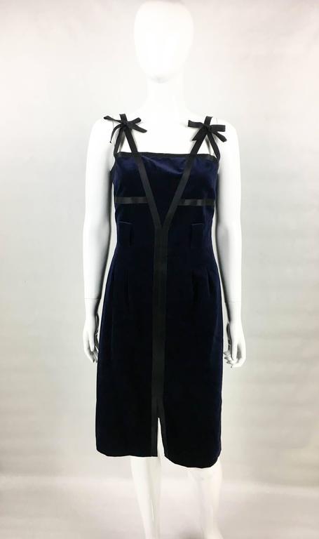 Chanel 2007 Runway Midnight Blue Velvet Cocktail Dress 3
