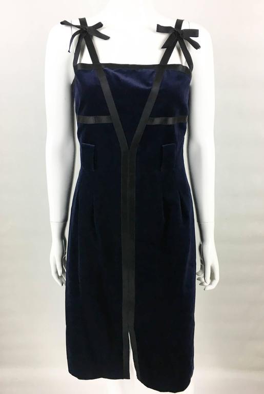 Chanel 2007 Runway Midnight Blue Velvet Cocktail Dress 4