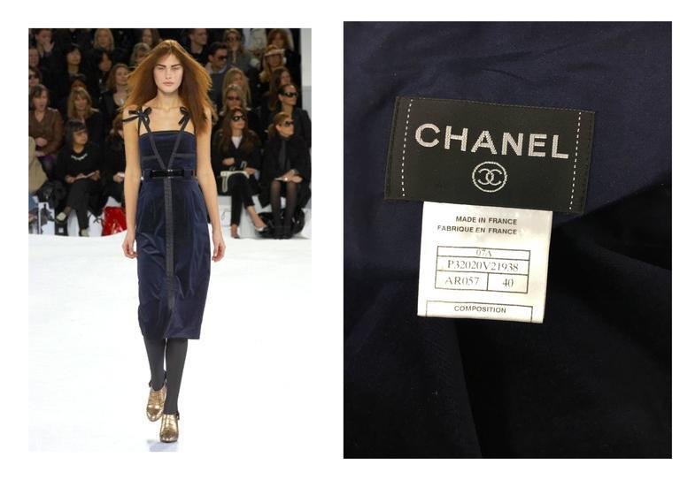 Chanel 2007 Runway Midnight Blue Velvet Cocktail Dress 10