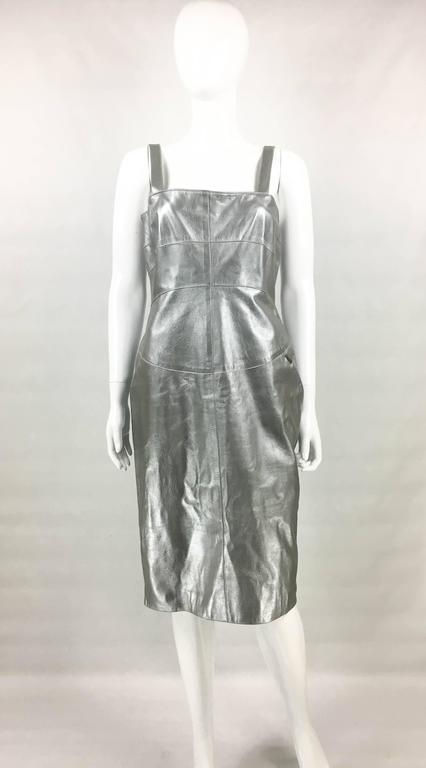 Chanel Runway Silver Lambskin Leather Dress, 1999 2