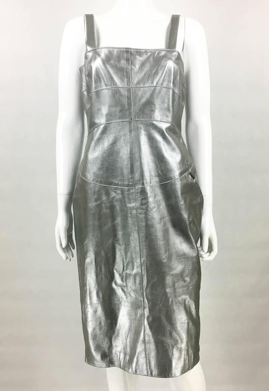 Chanel Runway Silver Lambskin Leather Dress, 1999 3