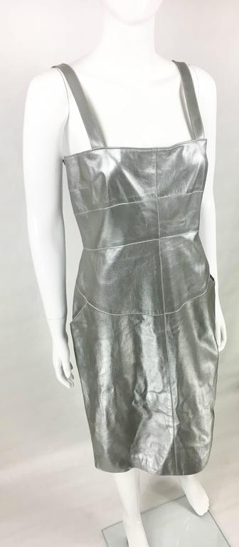 Chanel Runway Silver Lambskin Leather Dress, 1999 4