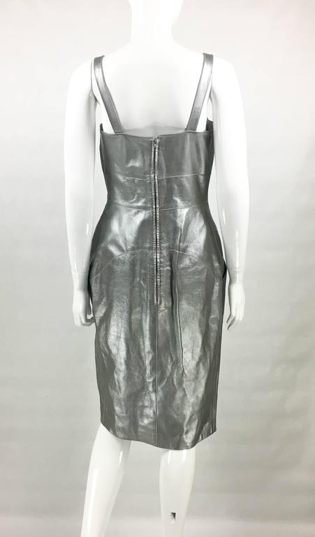 Chanel Runway Silver Lambskin Leather Dress, 1999 6