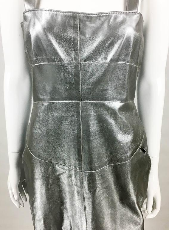 Chanel Runway Silver Lambskin Leather Dress, 1999 7