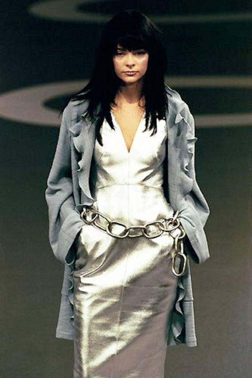 Chanel Runway Silver Lambskin Leather Dress, 1999 10