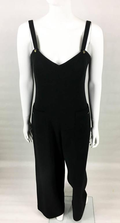 1995 Chanel Dungaree-Style Black Wool Jumpsuit In Excellent Condition For Sale In London, GB