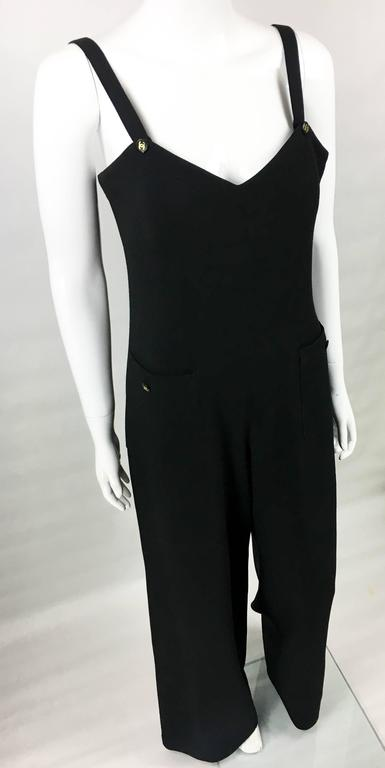 Women's 1995 Chanel Dungaree-Style Black Wool Jumpsuit For Sale
