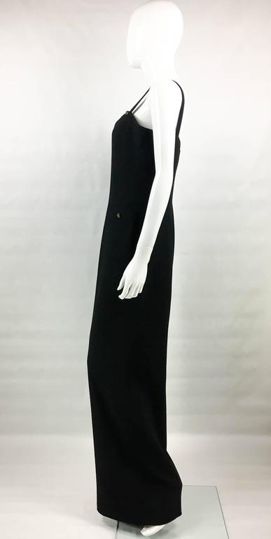1995 Chanel Dungaree-Style Black Wool Jumpsuit For Sale 1