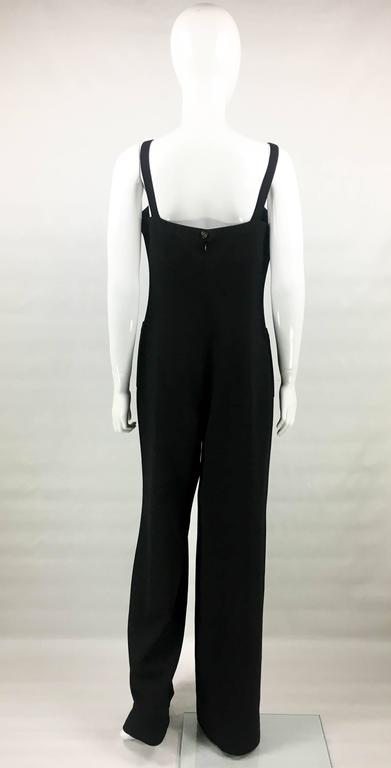 1995 Chanel Dungaree-Style Black Wool Jumpsuit For Sale 2