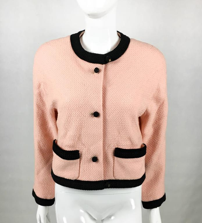 1990s Chanel Pink Tweed Cropped Jacket 3