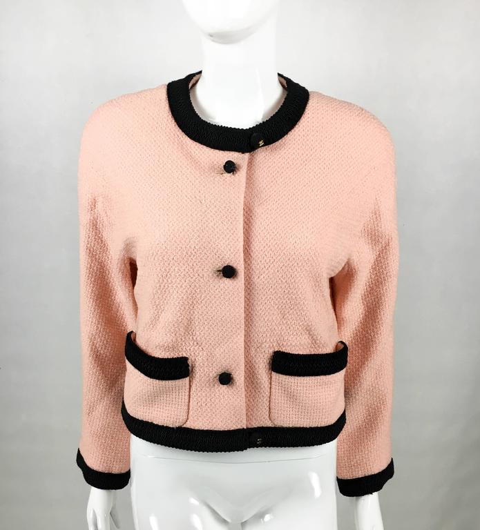 Beige 1990s Chanel Pink Tweed Cropped Jacket For Sale