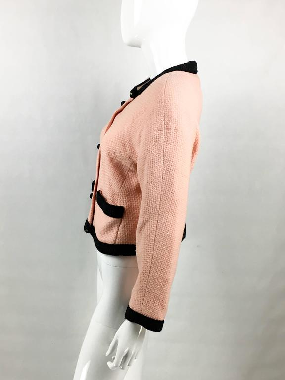 1990s Chanel Pink Tweed Cropped Jacket For Sale 1