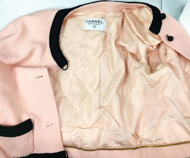 1990s Chanel Pink Tweed Cropped Jacket 10